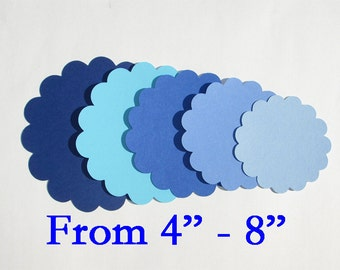 "Scalloped Circle Die cuts/ Blue color mix/ 10pc./ pick your size 4"", 4.5"", 5"", 5.5"", 6"", 6.5"", 7"",7.5"",8"""
