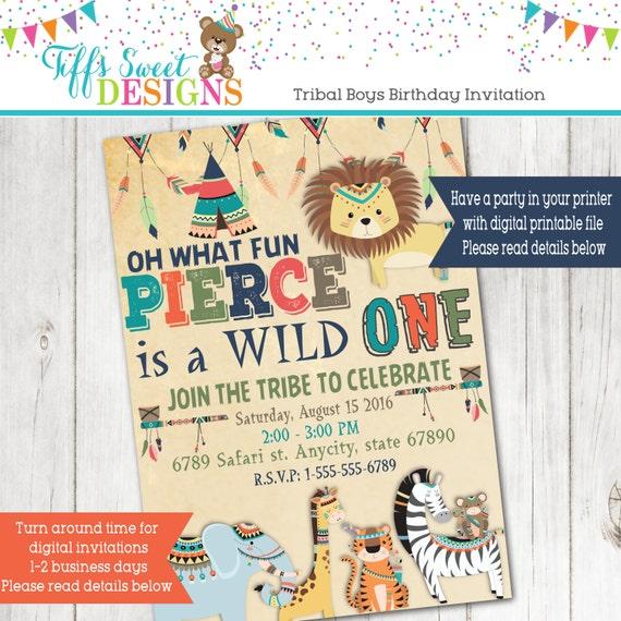 Boys Tribal Jungle Wild One Birthday Party Invitation - Birthday party invitations jungle