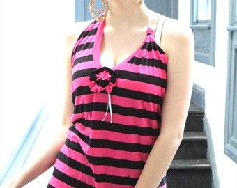 Punk Grunge Pink and Black Striped Halter Neck Top