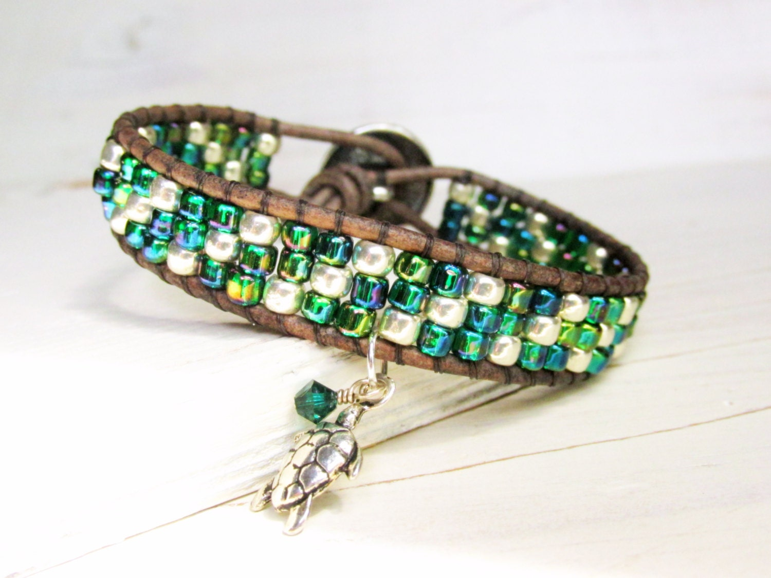 blue green leather bracelet turtle charm by annieexpressions