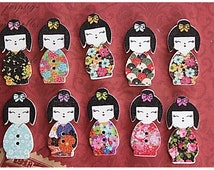 10 pcs Gueisha Wood Buttons Japonese 2 Holes Buttons 29mm x 14mm (BU28)