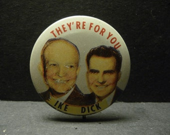 Political Pin/button of Eisenhower and Nixon in their Presidency Campaign