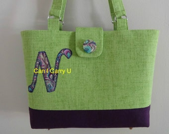 Monogram pocketbook, purse, canvas tote,lime green and purple,Handmade, handles or straps, beach colors,choose your color combo