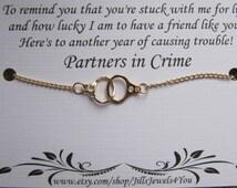 Best friend Handcuff Partners in Crime Bracelet - Friendship Bracelet - Best friend bracelet - BFF gift - Best Friend gift - Gold Handcuff