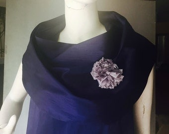 Navy Dupion Silk Occasion Top - Cowl Collar