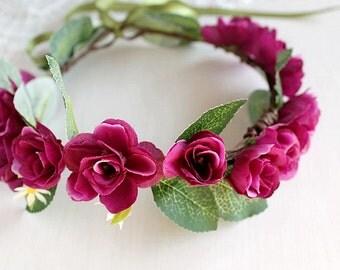 Magenta Rose Crown, Woodland Bridal Halo, Flower Girl Wreath, Boho Crown, Rose Crown, Floral Crown, Purple Wedding Crown, Girls Hair Wreath
