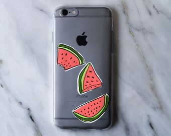 Abstract Cartoon Watermelon Drawing Clear iPhone Case - iPhone 5 5S 6 6S 6 Plus Case