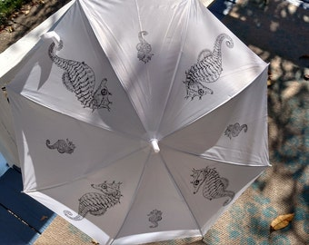 Umbrella Nautical Seahorse White Canopy Adult Size Automatic with hook Hand Drawn Black Ink Rain Outdoor Use Coastal Living Accessory