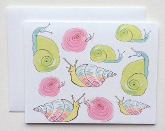 Coastal Seaside Whimsical & Colorful Snail Note Cards