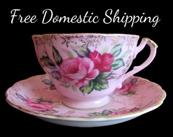 Pink Teacup, Floral Tea Cup, Shabby Chic Teacup, Rose Tea Cup, Hand Painted Teacup, Lefton China 1950 Tea Cup Set,Free US Shipping