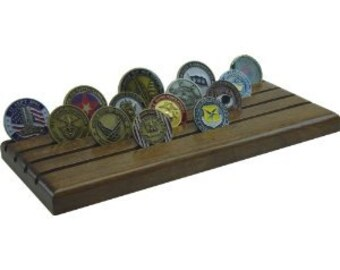 Military Challenge Coin Holder- Mahogany Dark- 28 coins