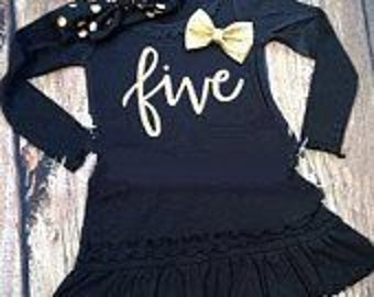 Fifth Birthday Shirt / Black and Gold Birthday/ Black and Gold Five / Fifth Birthday Outfit /Gold Five/ 5th Birthday Outfit