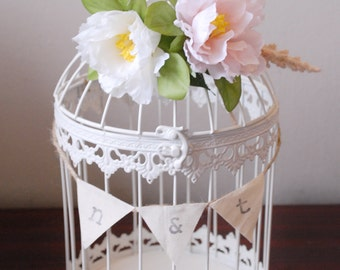 Rustic Birdcage Card Holder for Wedding #2 - White