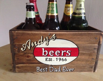 Gift for him Retro Style Beer Crate personalised with name and date perfect gift for Fathers Day best man birthday anniversary handcrafted