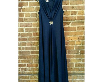 Vintage 70s Lily Lynn Navy Blue polyester gown- gold butterfly accent- large