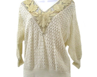 Vintage 1980s Crochet Lace Sweater Women's Lace Top Size 12-14