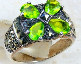 Peridot Green CZ, Marcasite & .925 Sterling Silver Ring Size 7.5 , M327