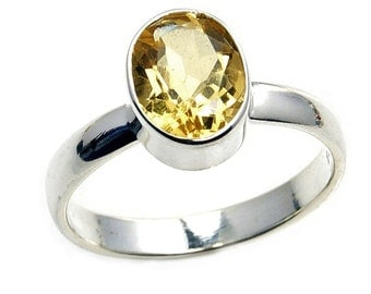Citrine Ring , 925 Sterling Silver Ring Size 6 1/4, 6 3/4 Jewelry November Birthstone AA485 , AA495
