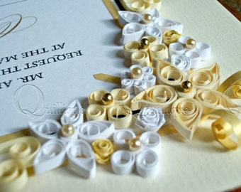 Vintage Style Custom Wedding Gift / Quilled & Framed Wedding Invitation / Custom Gift for Couple / Paper Quilled Art / WEDDING