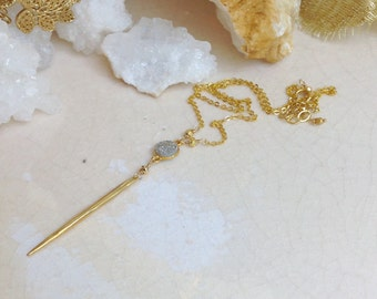 Drusy Druzy Gold Spike Necklace/ Lux Boho Jewelry/ Minimalist Necklace