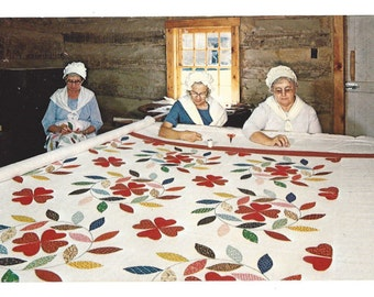 Vintage Postcard - Quilting - Old Bedford Village - Bedford Pennsylvania - Town Crier Publishers