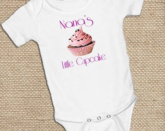 Personalized Little Cupcake,on White onsie Snap bottom all in one bodysuit Mommy's, Nana's, MiMi's, choose your own name