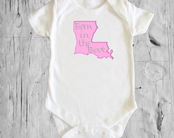 """Louisiana """"Born in the Boot"""" White onsie Snap bottom all in one bodysuit"""