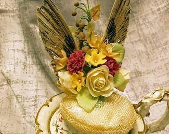 The quail wing cold porcelain flowers mini hat