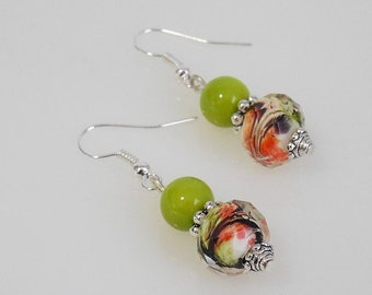 Green and Orange Bead Dangle Earrings