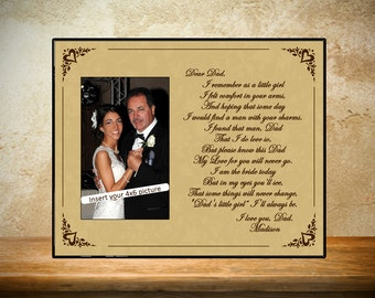 Tan Father of Bride Frame - Personalized Wedding Frame