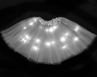 Child Gray Silver LED Light up Tutu Skirt with Batteries Fits Toddler 2 to Girls 8