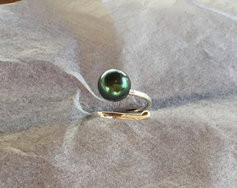 Tahitian pearl on argentium for this ring