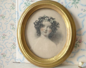 Delightful Victorian 19th C framed print rosy cheeked girl ringlets