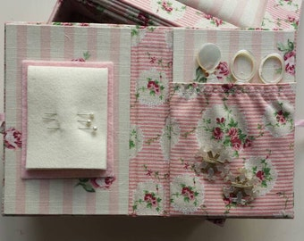 Sewing kit in floral pink stripe