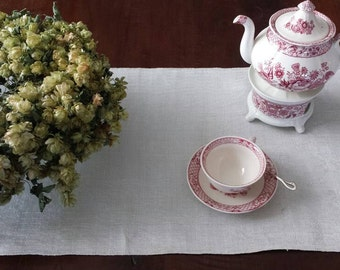 Antique French damask table runner
