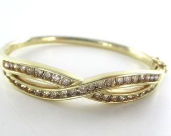 14k yellow gold bracelet cuff bangle diamonds