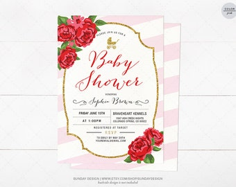 Red Rose Baby Shower Invitation Card - DIY Printable Party