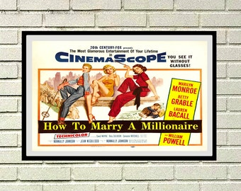 Reprint of the vintage movie poster - How to marry a Millionaire