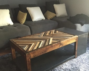 Reclaimed wood chevron coffee table