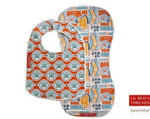 Bib and Burp Set in Dream On - Boutique baby bib and burp cloth set. Designer fabric and cotton chenille. Van,  bus,  Camper,  orange,  teal