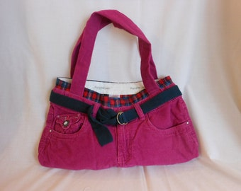 Pink Corduroy Recycled Pants Purse/Tote