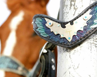 Bright Lights Collection Hand Tooled Leather Horse Head Stall Wing/Phoenix The Bright Lights Collection