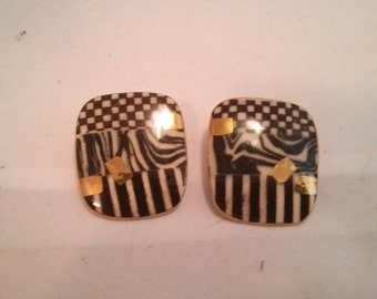 Vintage Collection - Klimt Style Geometric Black and Gold color Porcelain Stud Earrings