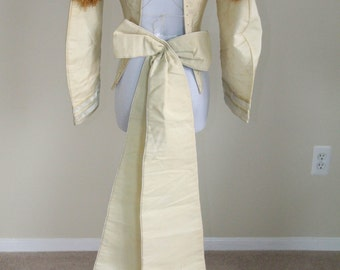 GEORGIAN 1830s Early Victorian Dress Bodice with Matching Bow & Original Lacing Cream Linen with Brown Tassel Trim