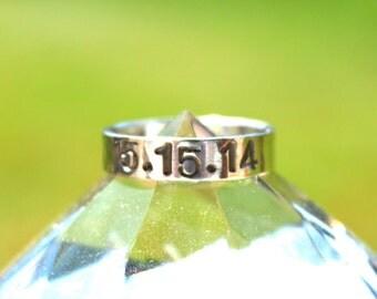 "Custom Handmade Sterling Silver ""Anniversary Date"" Ring"