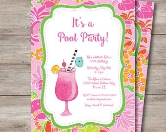Tropical Drink Invitation, Pool Party Luau Invitation with Editable Text, DIY Tropical Drink Pool Party Invitation, Luau Pool Party Invite