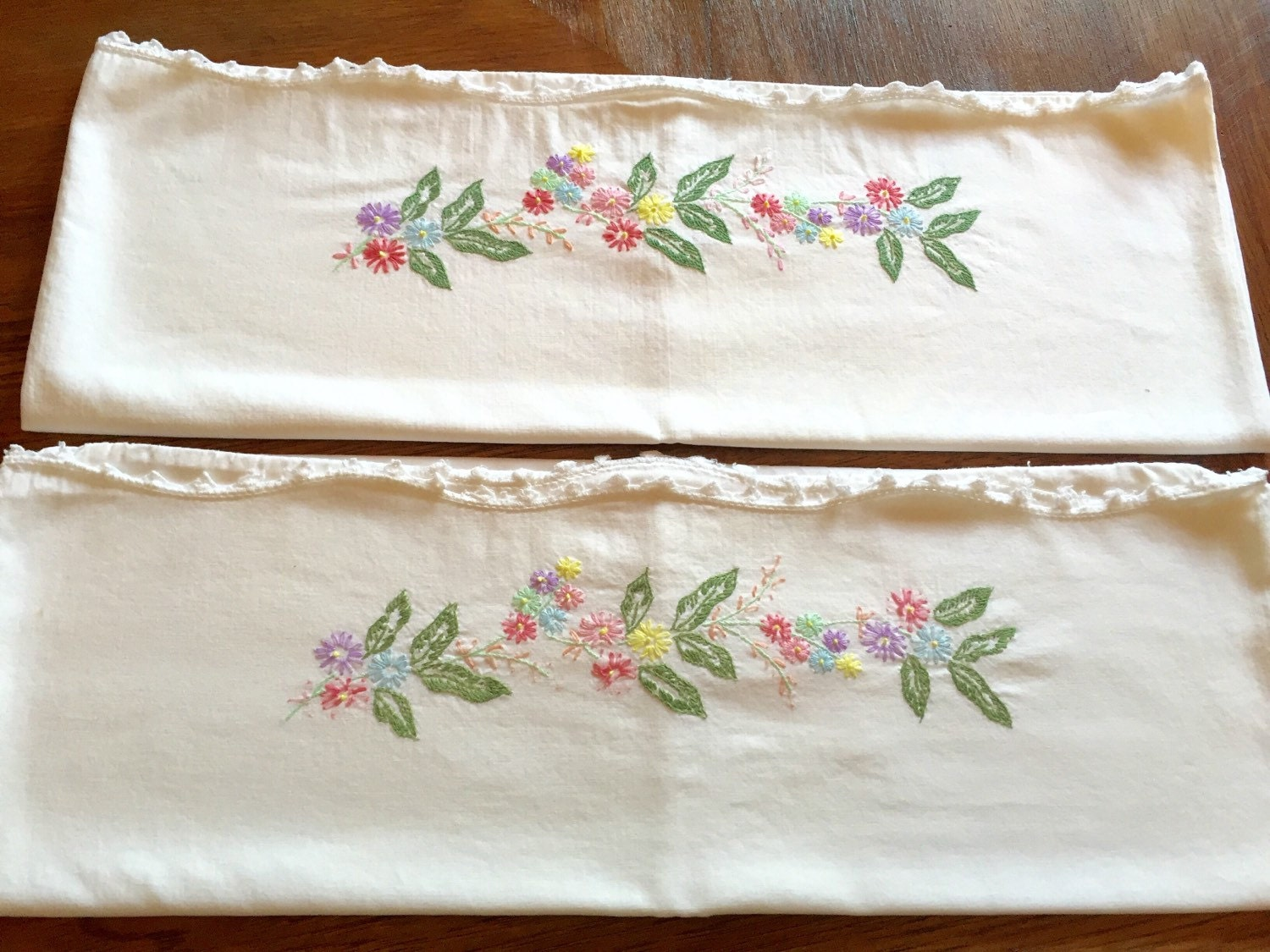 Set of embroidered floral linen pillow cases