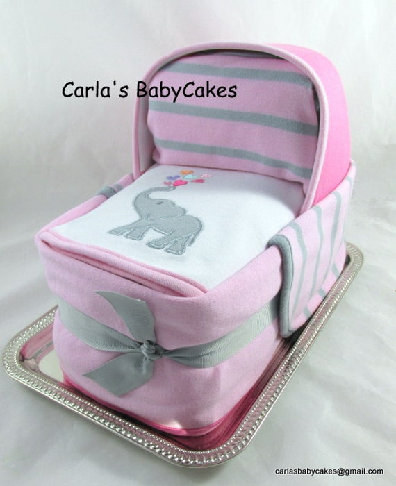 Diaper cake bassinet baby shower gift baby diaper cake girl il570xn negle Images