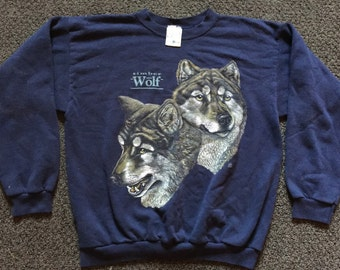 Vintage Mens Outdoor Lone Timber Wolf Wolfpack All Over Print Tacky Crewneck Sweatshirt Size L