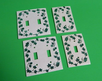 4 Green Ivy Light Switch Wall Covers Hard Thick Resin Plastic - No Screws